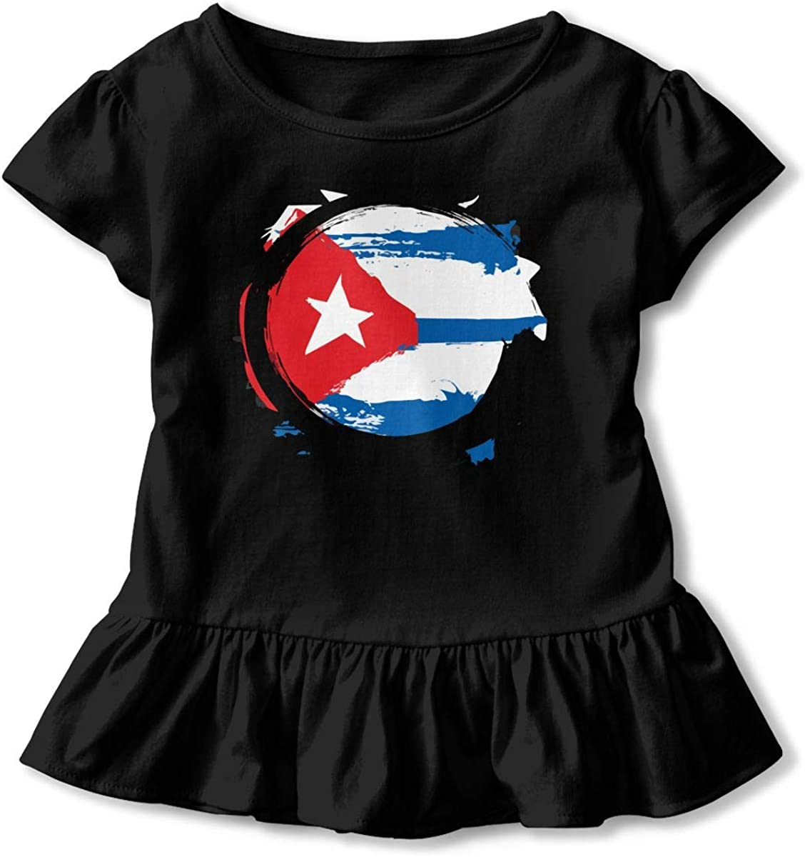 GNKTGBO2O Toddler Girls Cuba Flag Zen 100/% Cotton T Shirts Short Sleeve Ruffle Tee Basic Tops