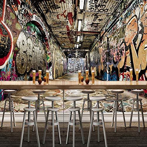 ZXCIE Silk Mural Custom Mural Wallpaper 3D Space Street Graffiti Hip-hop Bar KTV Backdrop Wall Painting Art -