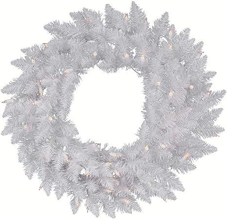 Amazon Com Vickerman Pre Lit Spruce Wreath With 100 Clear Dura Lit Lights 36 Inch Sparkle White Home Kitchen