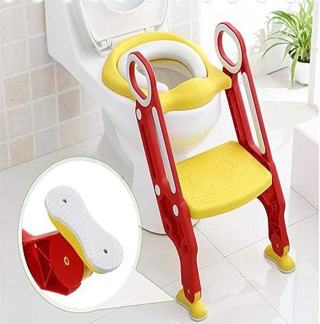 Escalera de baño auxiliar Suministros de asiento de inodoro infantil Escalera de bebé infantil plegable baño(Yellow): Amazon.es: Bebé