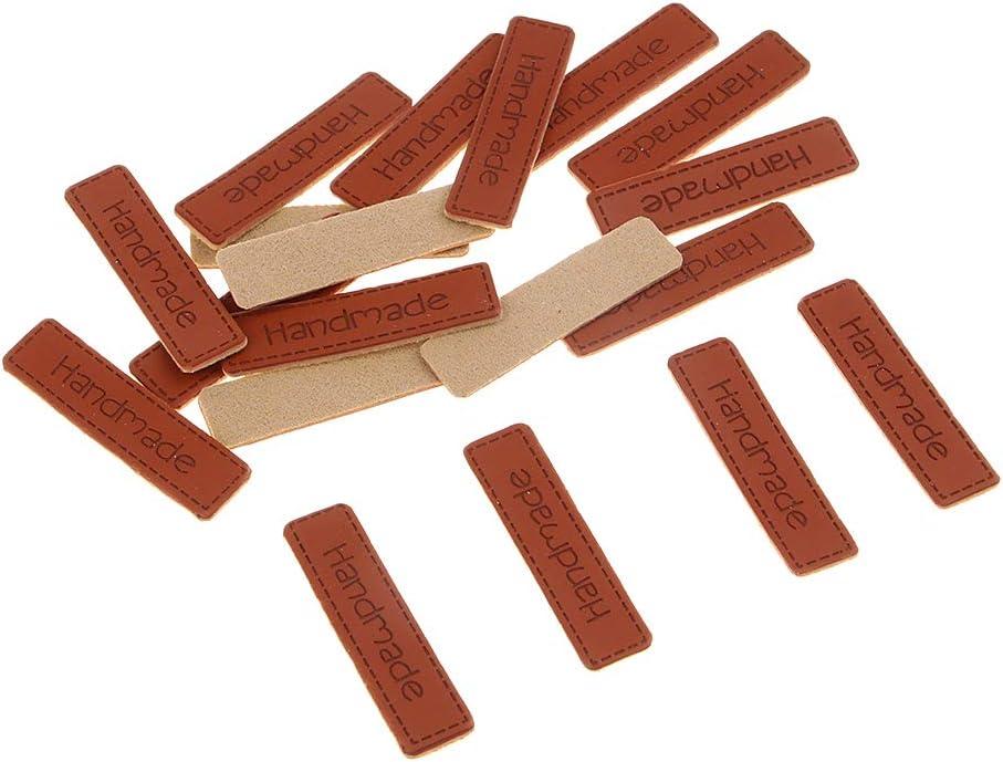 10 x 41 mm Baoblaze 20pcs Etiqueta de Cuero de PU Parche de Costura Herramienta