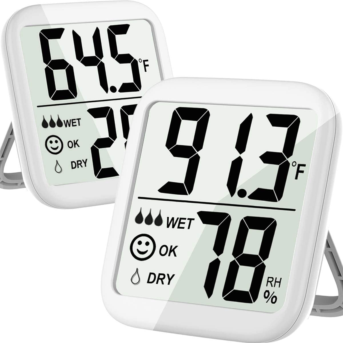 Hygrometer Indoor 2 Pack Max Digital Humidity Monitor Thermometer & Humidity Gauge with Ultra-Large Screen, Accurate Sensor for Room, Greenhouse, Wine Cellar, Basement, Gun Safe, Bathroom, Humidor