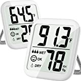 Hygrometer Indoor 2 Pack Max Digital Humidity Monitor Thermometer & Humidity Gauge with Ultra-Large Screen, Accurate Sensor f