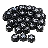 BQLZR 6mm Dia Hole Black Electric Guitar Volume Tone Speed Control Knobs with White Skull Pattern & Numbers Scale Pack of 200