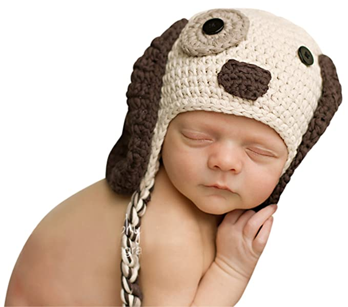 Melondipity Boys Little Puppy Dog Baby Hat - Crochet Animal Beanie (6 - 12  Months c928c1acf58