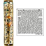 Talisman4U Gold Enamel Jewish MEZUZAH CASE with Scroll Jerusalem Israel Judaica Door Mezuza 5''