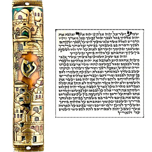 Talisman4U Gold Enamel Jewish MEZUZAH CASE with Scroll Jerusalem Israel Judaica Door Mezuza 5
