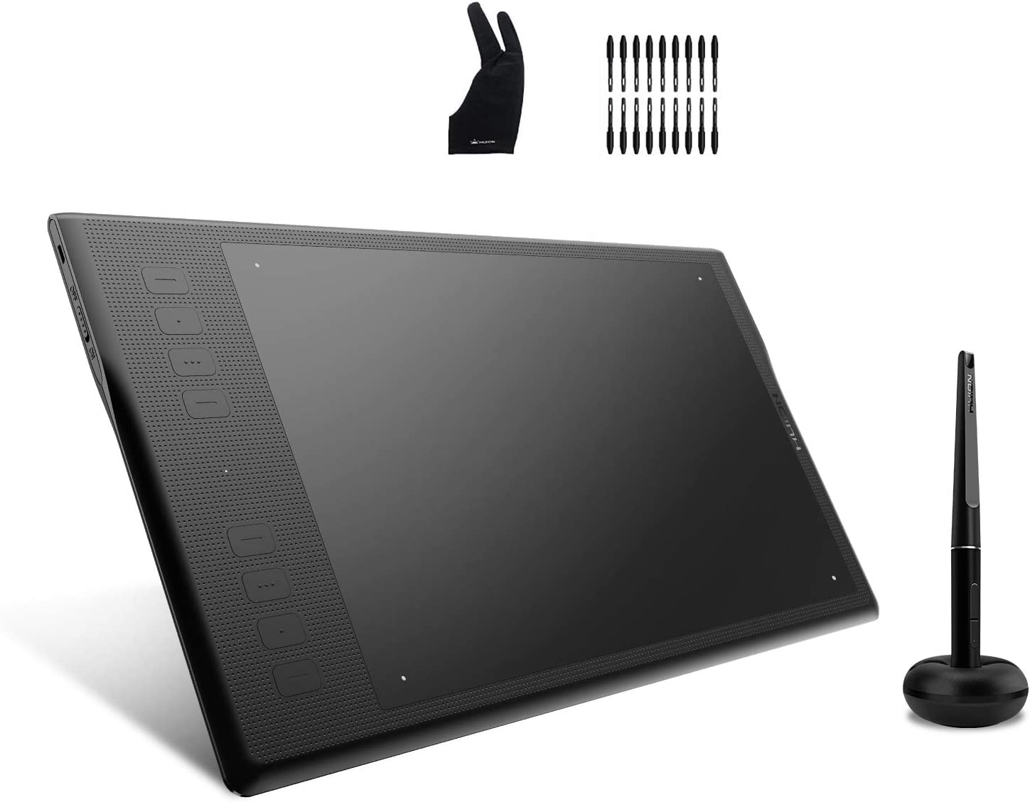 Huion Inspiroy Q11K V2 Graphic Drawing Tablet Tilt Function Battery-Free Stylus 8192 Pen Pressure with Artist Glove and 18 Pen Nibs