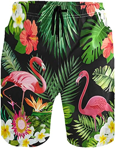 Flamingo Palm Mens Trunks Beach Board Shorts Drawstring Waist Mesh Lining