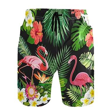 fb3c30716f2416 YUIHOME Men Swim Trunks Flamingo Tropical Elastic Quick Dry Drawstring  Swimming Boardshorts Mesh Lining Small