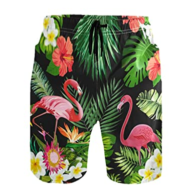 59e983fca9 YUIHOME Men Swim Trunks Flamingo Tropical Elastic Quick Dry Drawstring Swimming  Boardshorts Mesh Lining Small