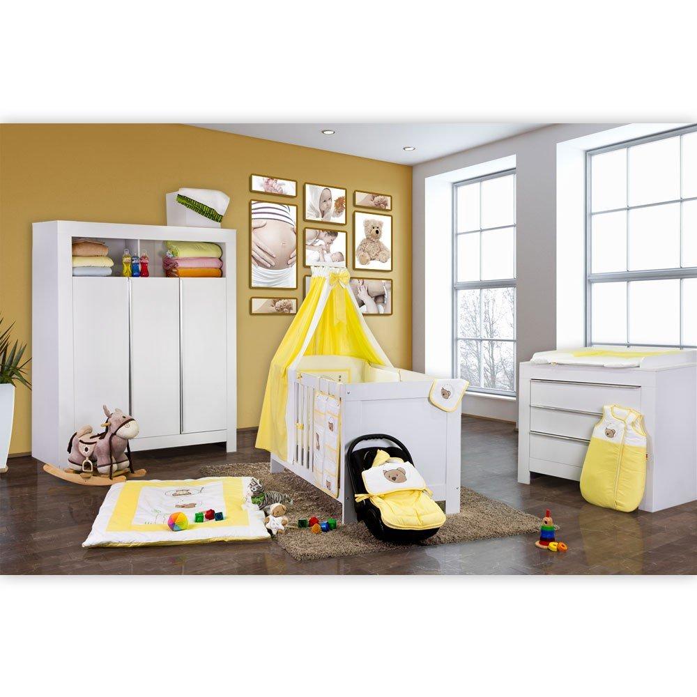 Babyzimmer Felix in weiss 19 tlg. mit 3 türigem Kl von Little Bear in gelb
