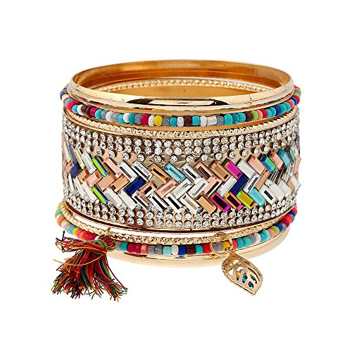 FEDONA Bohemian Multilayer Vintage Tassel Beaded Charm Gold Tone Cuff Wrap Bracelets for Women and Girls