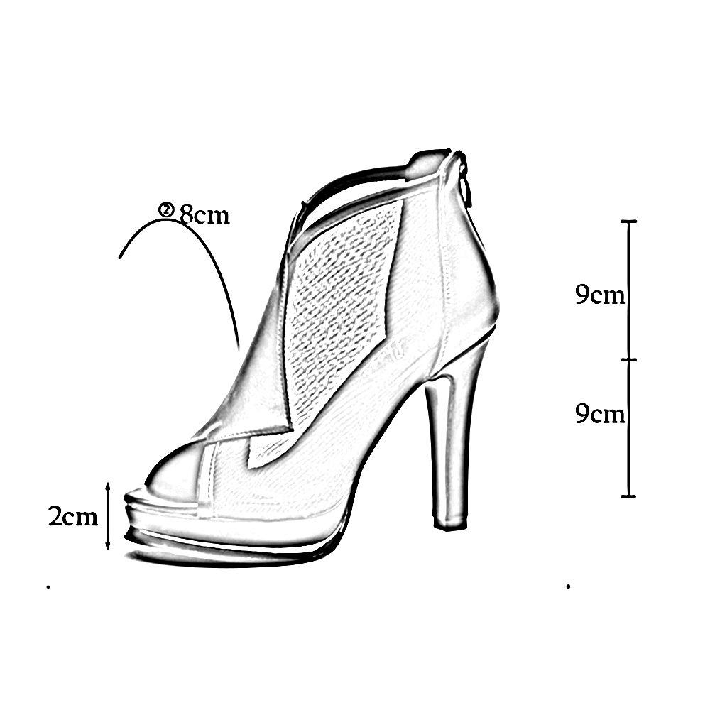 ZHIRONG Frauen Wasserdichte Plattform High Heels Offene Zehe Fisch Mund Mund Fisch Schuhe Fein Mit Sandalen Nachtclub Schuhe Party Schuhe Kleid Schuhe 9 CM ( Farbe : Beige , größe : EU35/UK3/CN34 ) Beige 8e7aeb