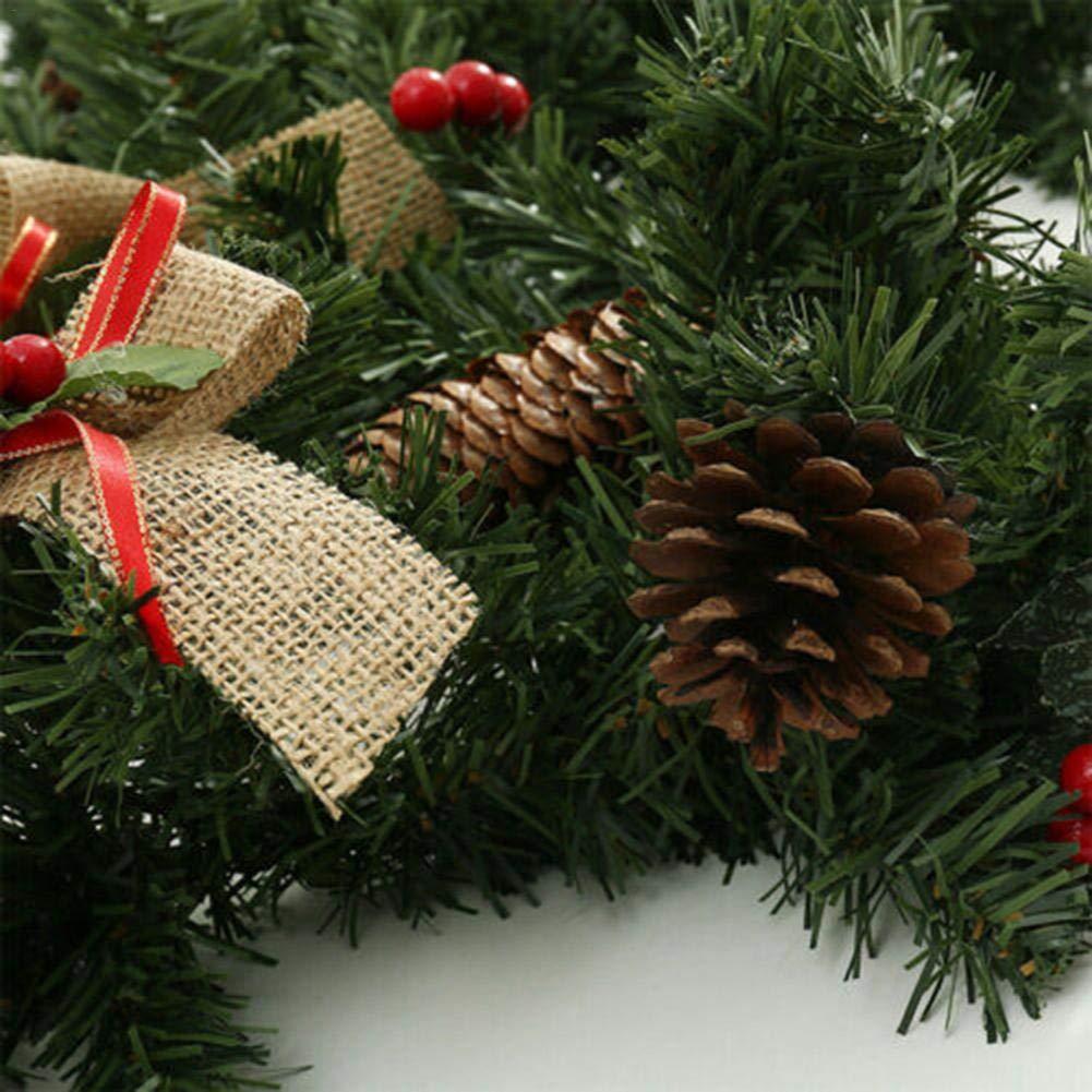 Guirnalda De Navidad Decoraci/ón Guirnalda Decorativa Navide/ña Extra Grueso Mezclado Pino Guirnalda Con Pi/ñas Y Bayas Guirnalda Decorativa Con Bayas De Pino Y Nudo De Mariposa 180 CM