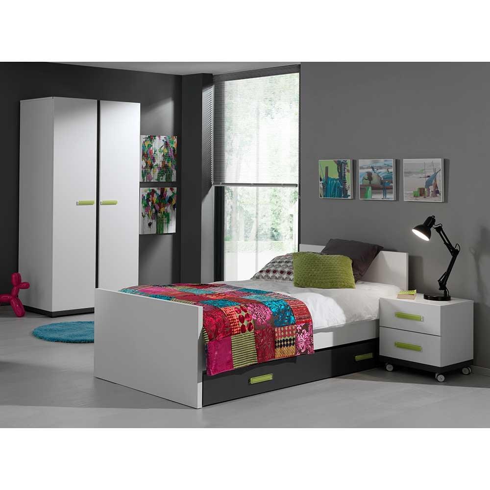 Kinderzimmermöbel weiß grün  Kinderzimmermöbel in Weiß Anthrazit Grün (4-teilig) Pharao24 bestellen