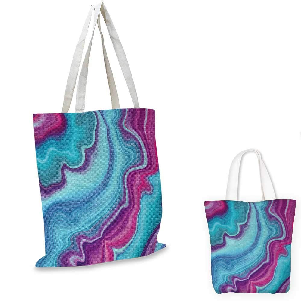 Marble canvas messenger bag Abstract Color Formation Wavy Aqua Pink Lines Agate Slab Mineral Layers Geographic canvas beach bag Aqua Pink 12x15-10