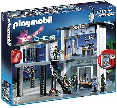 PLAYMOBIL - Comisaría de policía con Sistema de Alarma, Set de Juego (5182): Amazon.es: Juguetes y juegos