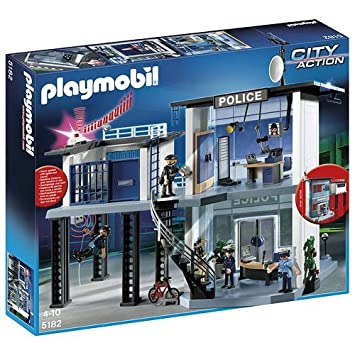 amazoncom playmobil police station with alarm system toys games - Playmobile Police
