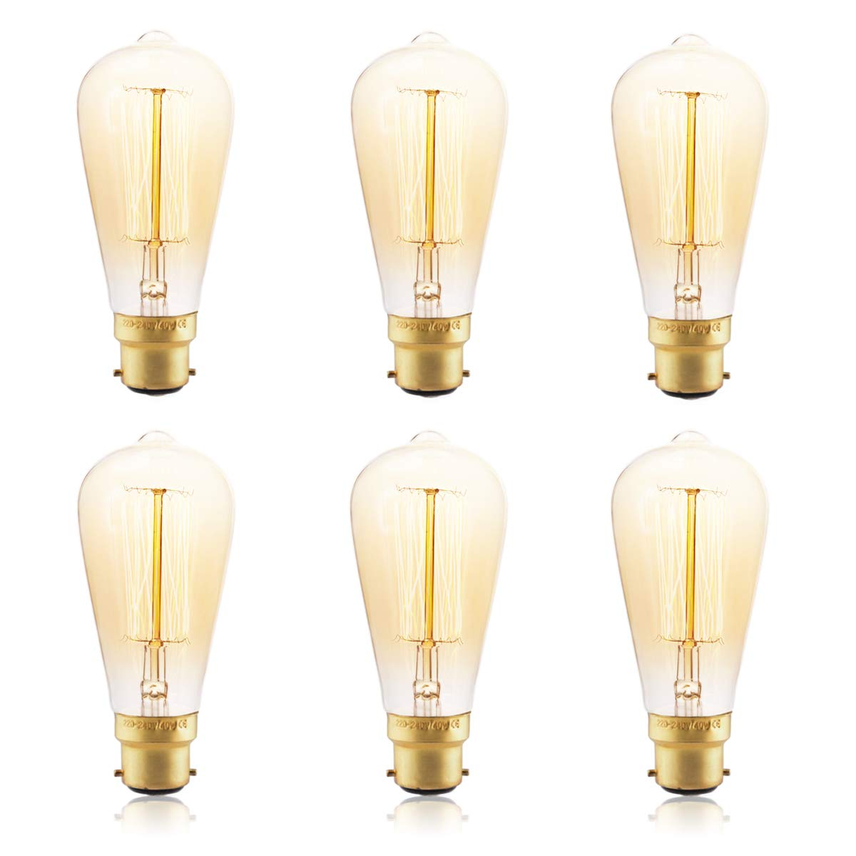 lampadine Dimmerabile 2600 2700K Vite Bulbo a gabbia di scoiattolo ST64 Lampadine a filamento decorativo 40W Lampada Vintage B22 lampadina bar stile industriale luce retr/ò Lampadine ST64 6 Pezzi