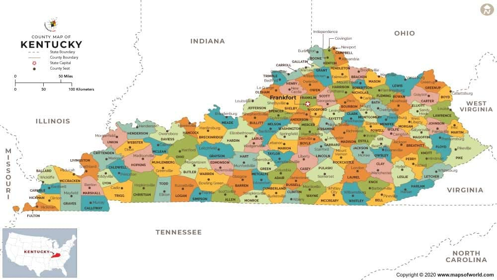 Amazon Com Kentucky County Map 36 W X 21 6 H Office Products