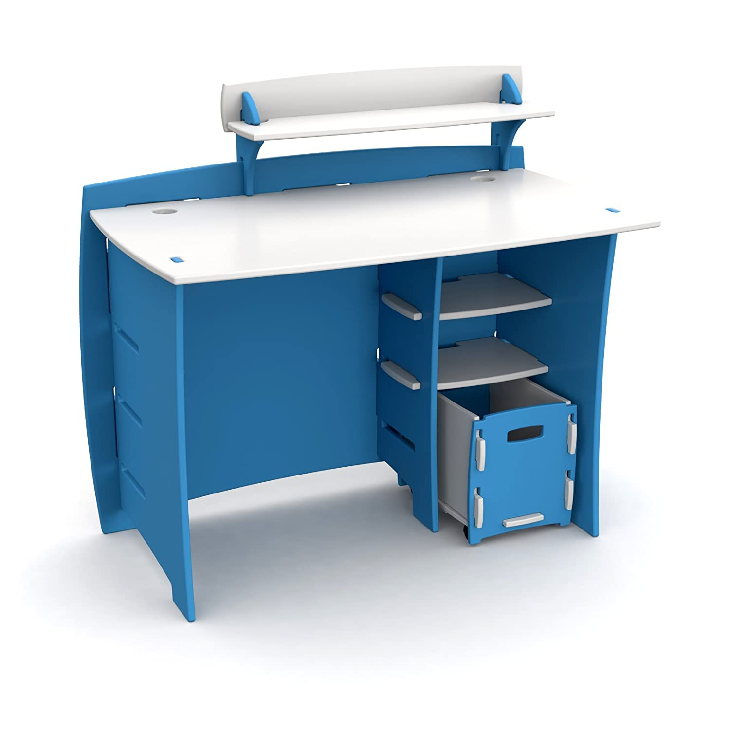 Amazon Legare 43 in Desk with Shelf and File Cart Blue and