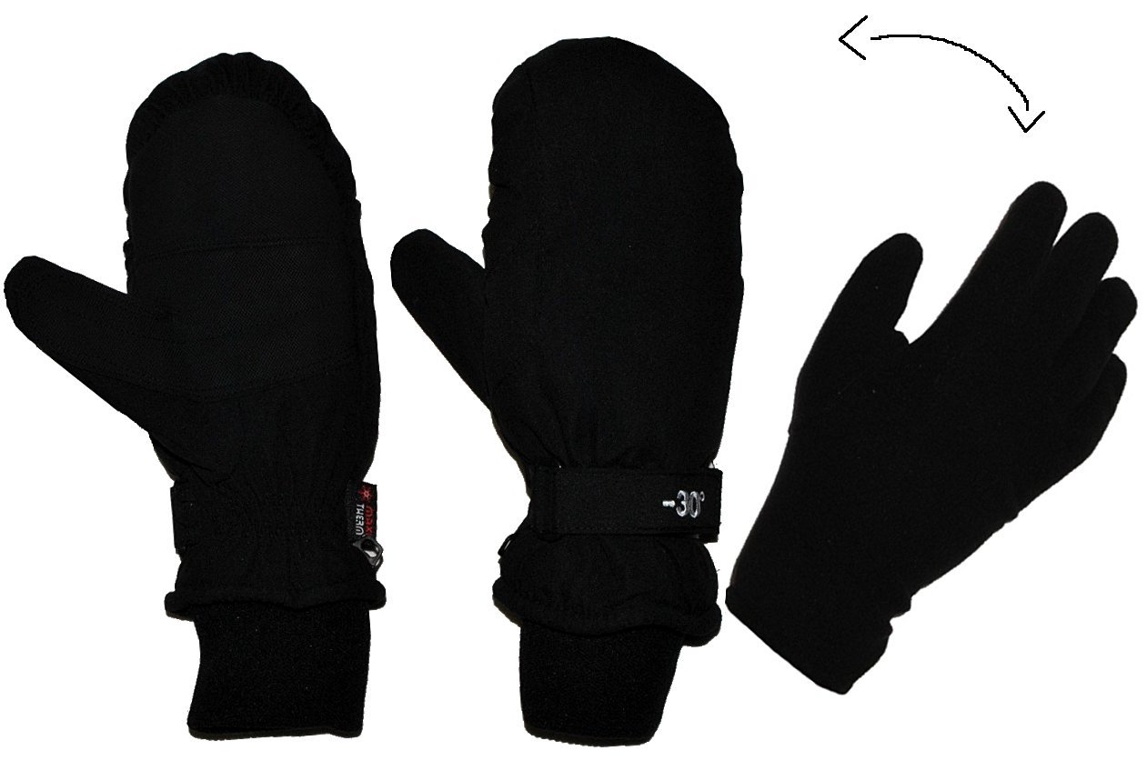 2 in 1: Fingerhandschuhe im Fausthandschuh für Kälte bis -30 Grad - wasserdicht Thinsulate - sehr warm - Thermo gefüttert - Größe 6 - Thermohandschuhe schwarz