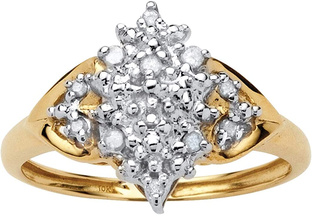 10K Yellow Gold Round Genuine Diamond Cluster Engagement Ring (1/10 cttw, I Color, I3 Clarity)