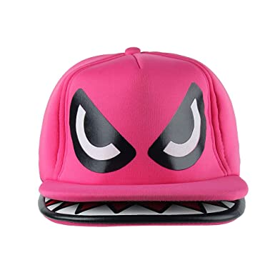 shark mouth teeth double brim trucker hat cap pink fin baseball paul