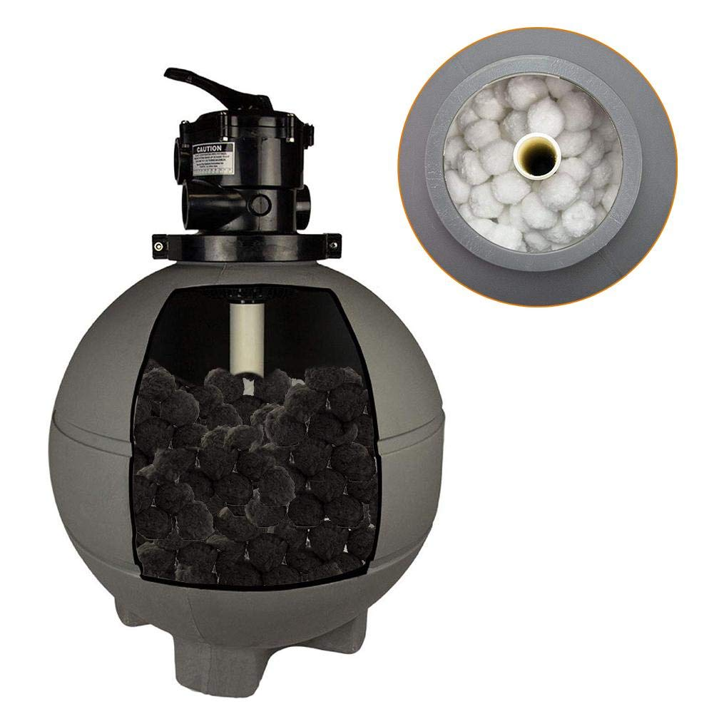 Gereton Eco-Friendly Swimming Pool Filter Media Fiber Ball Cleaning Equipment Sand Filters Alternative to Sand and Filter Glass Specialty Charcoal Coating Helps Reduce Chlorine Smell