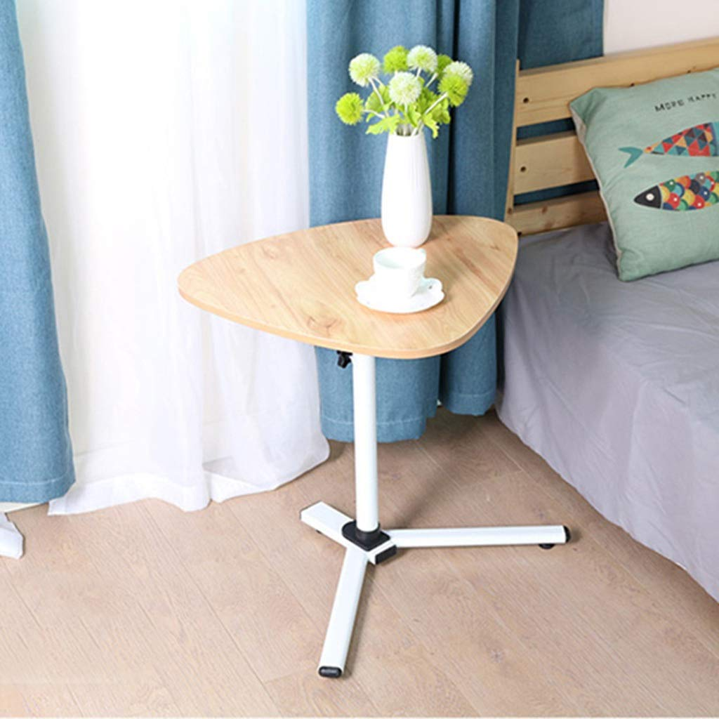 ZDNALS Portable Bedside Table, Triangular Laptop Table Lift Small Coffee Table Bed Small Table, Suitable for Bedroom, Living Room, Sofa Corner Table Bedside Table (Color : Wood Color)