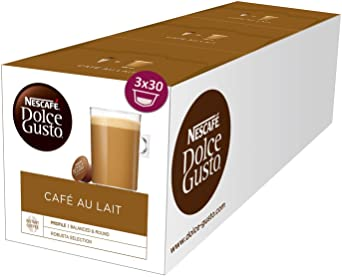 Nescafé Dolce Gusto Café au Lait, XXL-Vorratsbox, 90 Kaffeekapseln, ausgewählte Robusta Bohnen, leichter Kaffeegenuss mit Cre