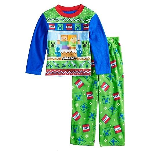 1e3b75a071f7 Amazon.com  Minecraft Creeper Boys 2 Piece Fleece Holiday Pajama Set ...