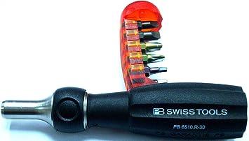 Destornillador de trinquete con imán + 10 puntas - fabricado en Suiza ...