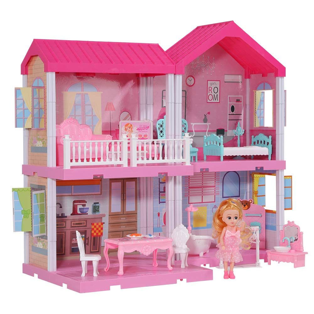 TEMI Kids Dreamy Dollhouse Building Toys Figure w/ Furniture, Accessories and Dolls, DIY Cottage Pretend Play Set for Ages 3+ Years, for Toddlers, Boys & Girls