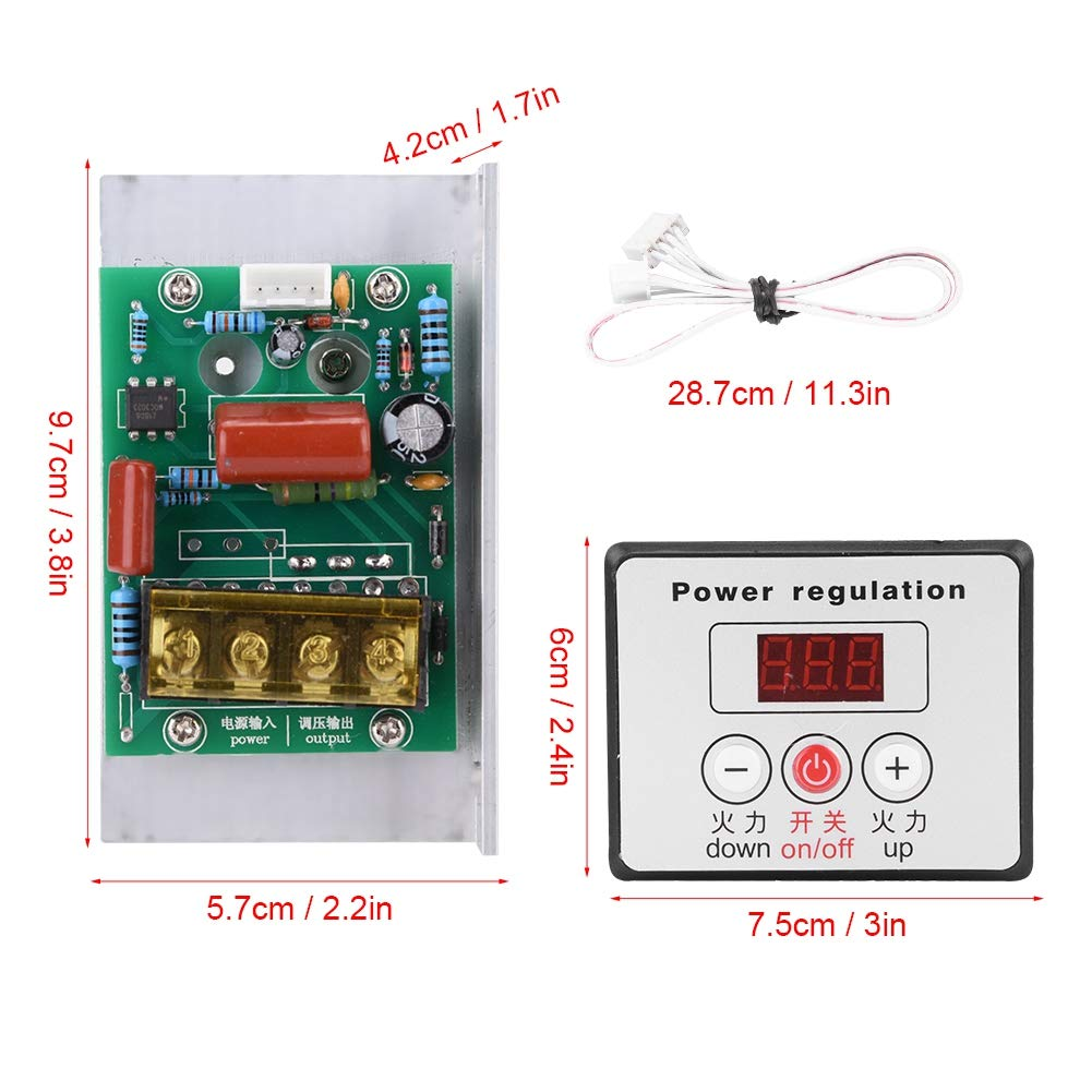 AC 220V 6000W Adjustable SCR Digital Voltage Regulator Electric Motor Speed Control Dimming Dimmer Thermostat Module by Wal front (Image #3)
