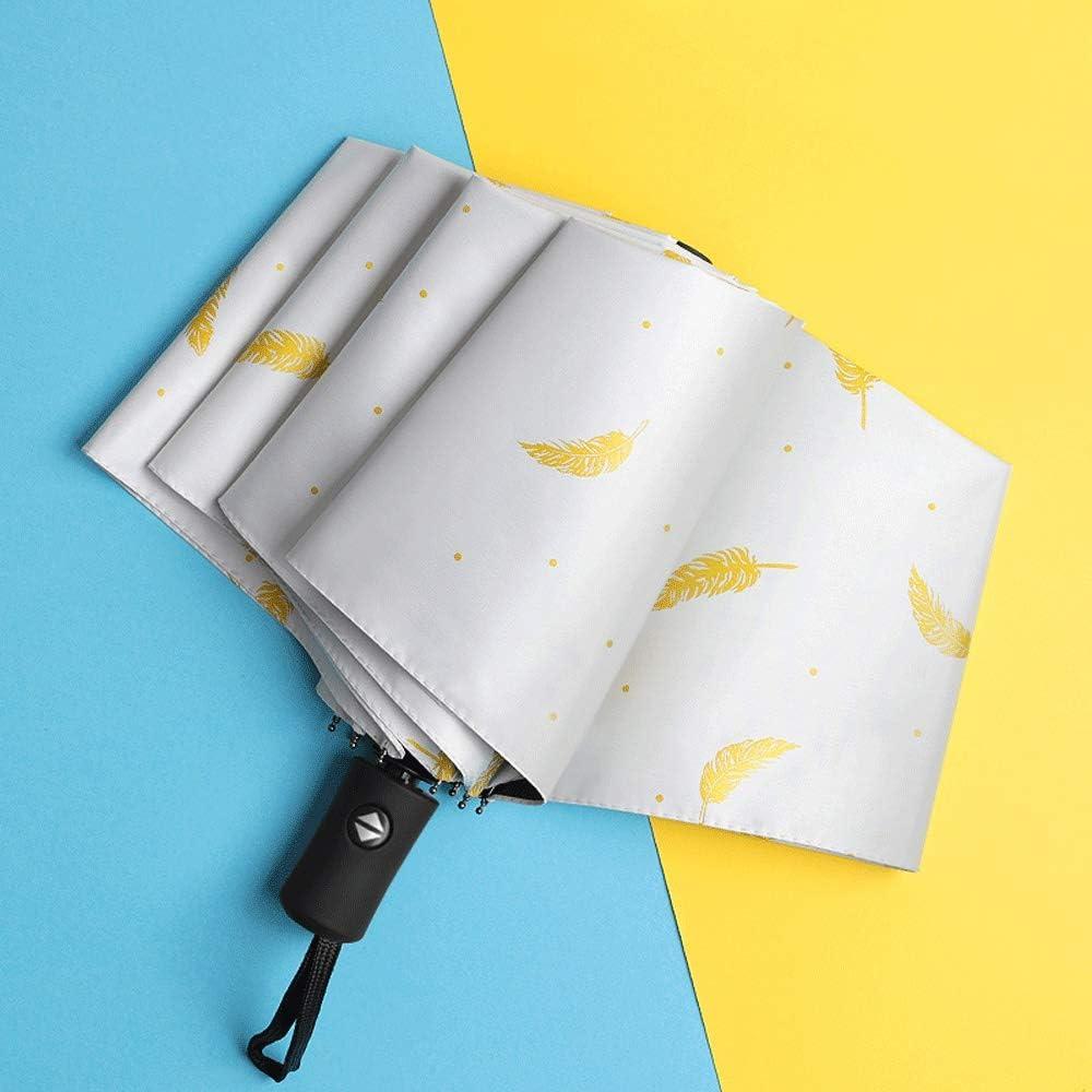 Qeeuanl Cartoon Full Automatic Umbrella Large Folding Compact Portable UV Protection Sun Shade Female Sun and Rain Dual-use S Umbrella Color : White
