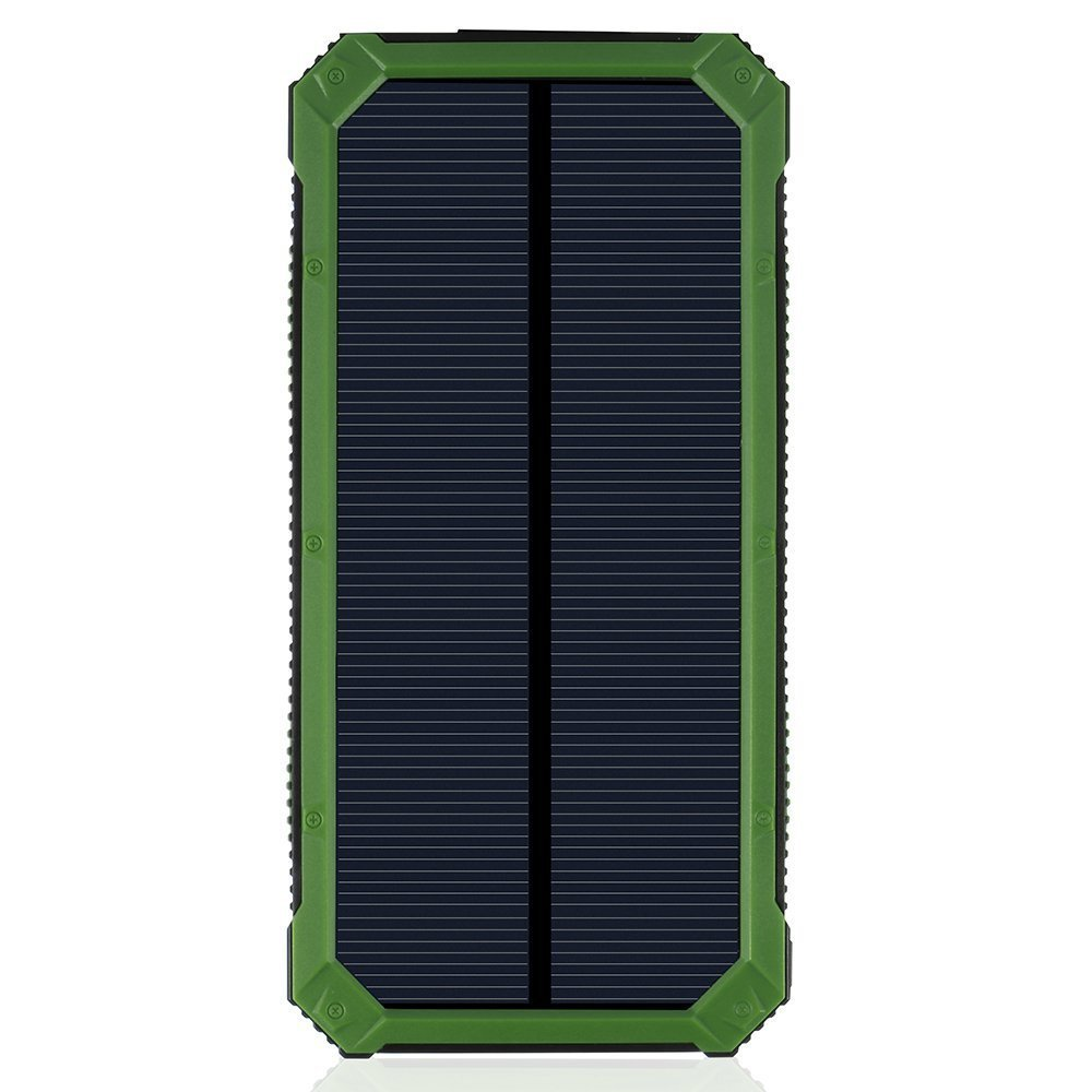 LANIAKEA 15000mAh Solar Charger, Waterproof Solar Power Bank Battery Pack, Dual USB Solar Panel Charger for iPhone, Samsung Galaxy, Smart phones and Other USB Devices,Green