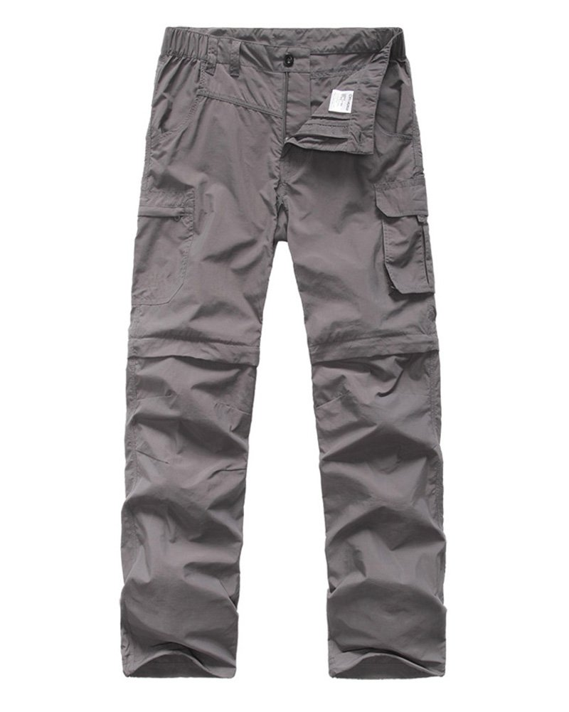 Kids' Cargo Pants, Boy's Casual Outdoor Quick Dry Waterproof Hiking Climbing Convertible Trousers Gray by linlon