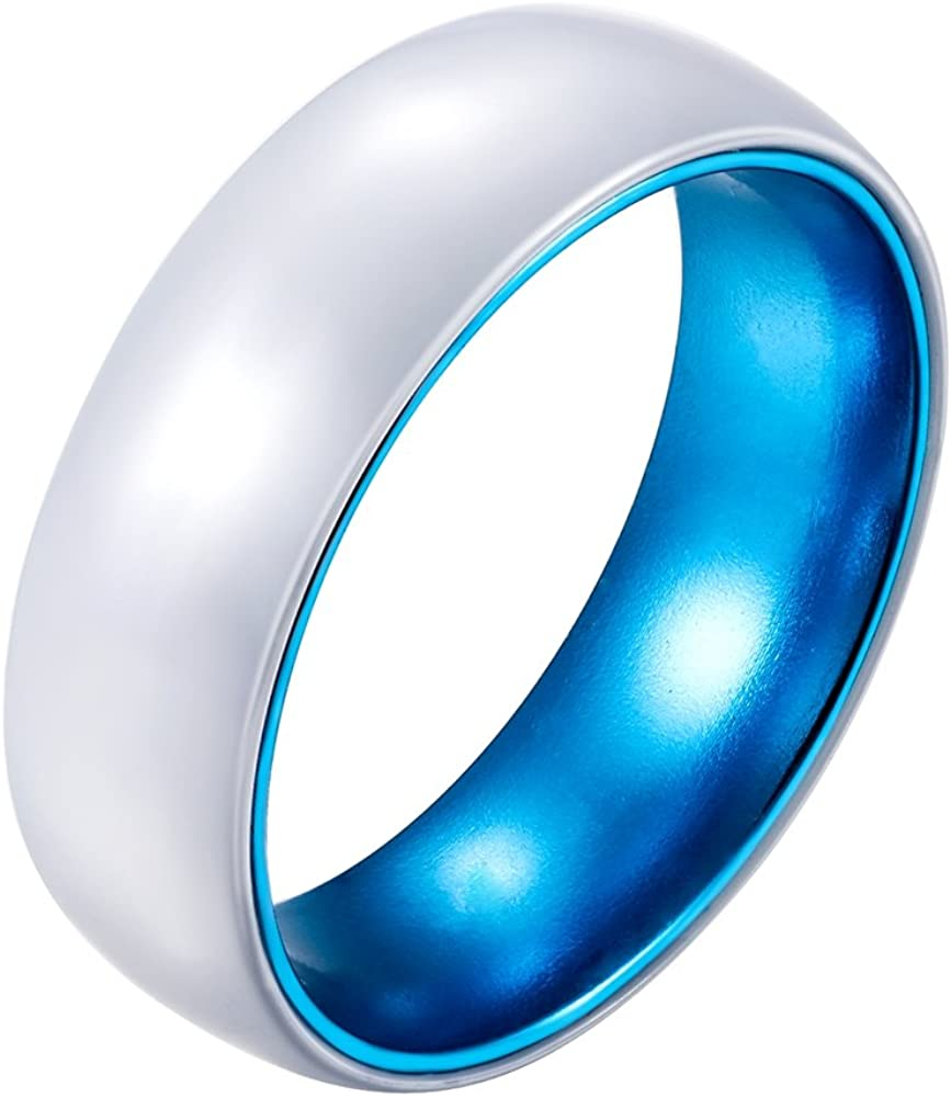 POYA 8mm White Ceramic Ring with Anodized Blue Aluminum Sleeve Wedding Bands