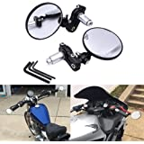 TUINCYN Universal 7/8 Inch Motorcycle Handle End Mirrors Foldable Rear View Side View Handle Bar Round Motorbike Mirrors (Pack of 2)