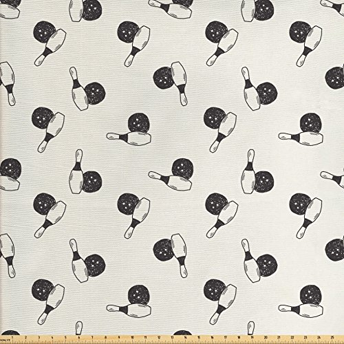 Victory Swag Valance - Ambesonne Bowling Fabric by the Yard, Hand Drawn Style Pins and Balls Aim Hit Score Strike Tournament Victory Scribble, Decorative Fabric for Upholstery and Home Accents, Black Cream