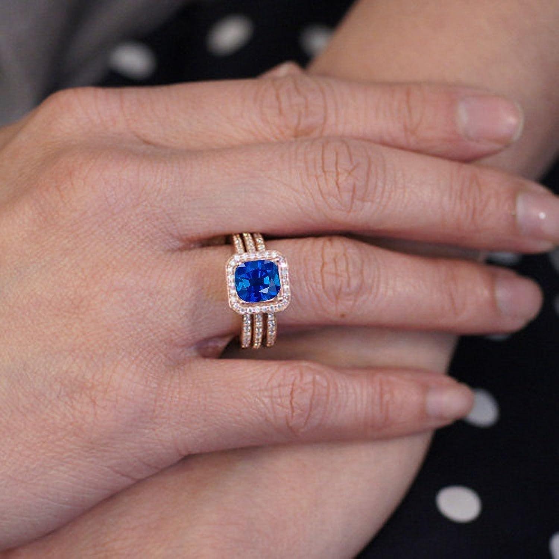 Amazon.com: 2.25 Carat Perfect Princess cut Sapphire and Diamond ...