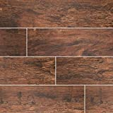 MSI Stone NREDMAH6X24 Redwood Mahogany Wood Look Tile with Matte Finish, 6'' x 24'', Brown