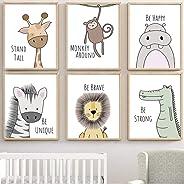Barhe - Juego De 6 Cuadros Infantiles PóSteres Linda Pintura Decorativa Animal, HabitacióN Infantil, Pared De Fondo, Pintura