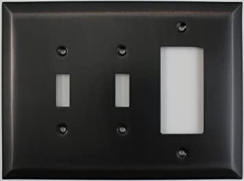 Jumbo Stamped Oil Rubbed Bronze 3 Gang Combo Wall Plate 2 Toggle Light Switch 1 Gfi Rocker Outlet