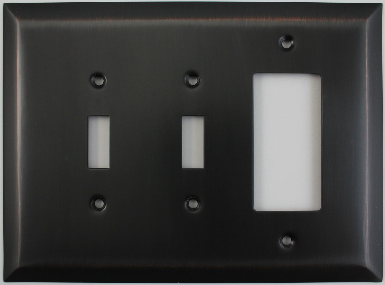 Jumbo Stamped Oil Rubbed Bronze Three Gang Combo Wall Plate - Two Toggle Light Switches One GFI/Rocker Outlet by Classic Accents