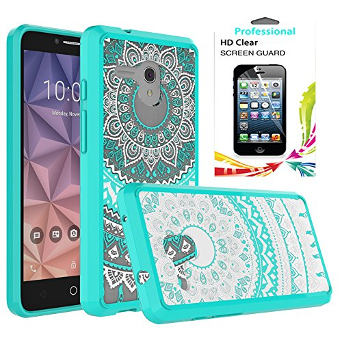 Alcatel OneTouch Fierce XL Clear Case With HD Screen Protector,AnoKe [Scratch Resistant] Colors Totem Mandala Ultra Slim Fit Acrylic Hard Cover TPU Bumper Hybrid For 5054 TM CH Mint