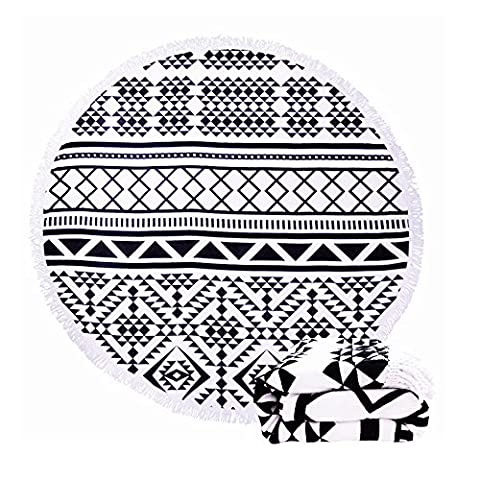 Large Round Beach Towel Black and White with Fringe Tassel 60-Inch,Ultra Soft Super Water Absorbent,Circle Beach Towel Round Microfiber/Mandala Yoga Mat/Table Cloth/Bath Rug/Tassel Rug/Bath - Large Circle