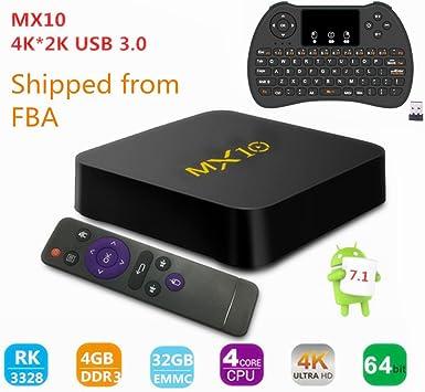 Caja de TV, MX10 RK3288 Quad-core Android 7.1 TV Box 4 GB (DDR4 ...